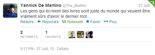 Un tweet de Yannick de Martino